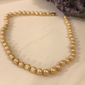Faux Antique Pearl Necklace, Knotted @ Each Pearl